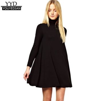 Women Dresses New Arrival 2018 Spring Autumn Long Sleeve Ladies Turtleneck Polo Roll Neck Loose Swing Skater Mini Dress *1207
