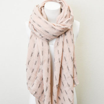 Woven Tribal Print Arrow Abstract Scarf Light Pink Peach BOHO Lightweight Full Simple and Chic An Absolute Must for Fall
