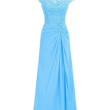Women's Long Bateau Neckline Cap Sleeves Bridesmaid Dress with Lace Flower