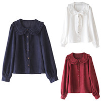 Long Sleeve Tie Front Button Down Shirt
