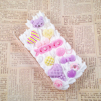 Clear iPhone 5 Case Pink and Purple Pastel Kawaii Decoden Phone Case XOXO Love with Candy Sweets Bows Cabochon Pearls Snap on Case