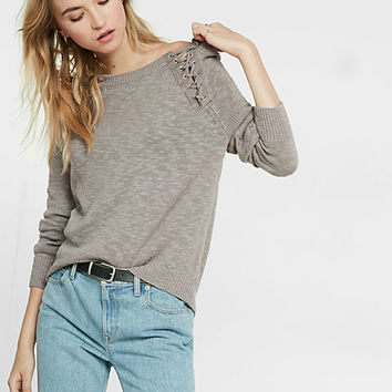 lace-up shoulder pullover sweater