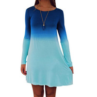 Spring style Womens dress plus size Long Sleeve Casual Loose Gradient Color