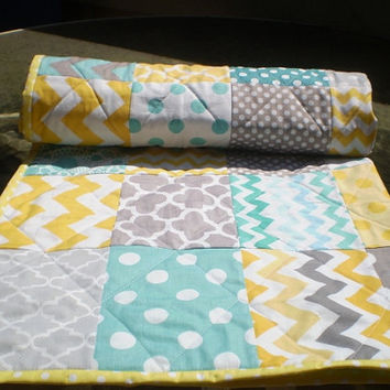 Modern Baby quilt,teal,aqua,grey,yellow,Baby boy bedding,baby girl quilt,Patchwork Crib quilt,chevron blanket,dots,toddler, Sun,Sea and Mist