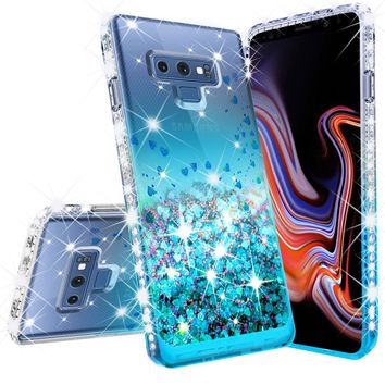 Samsung Galaxy Note 9 Case, SM-N960U Case Liquid Glitter Phone Case Waterfall Floating Quicksand Bling Sparkle Cute Protective Girls Women Cover for Galaxy Note 9 - Teal