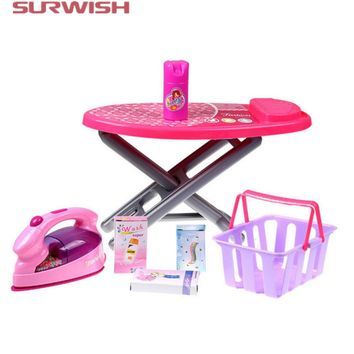 Surwish Educational Toy Electric Iron Set Children Pretend & Play Baby Kids Home Appliances Toy - Color Random