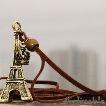 Paris Eiffel Tower necklace steampunk antique brass necklace NAT01