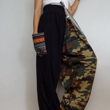 CAMO Drawstring waist Long Trouser with Woven Pockets Accent,Unisex Drop crotch harem pants unique ,Cotton Blend(pants-AJ2).