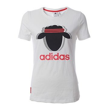 "Adidas""Fashion Print Pattern Scoop Neck Short Sleeve T-Shirt"