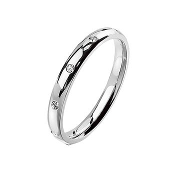 Silver Forever - Women's 10 CZ Flush Set Stainless Steel Dome Ring
