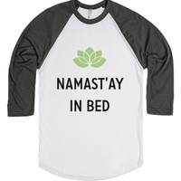 Namastay In Bed Baseball-Unisex White/Asphalt T-Shirt