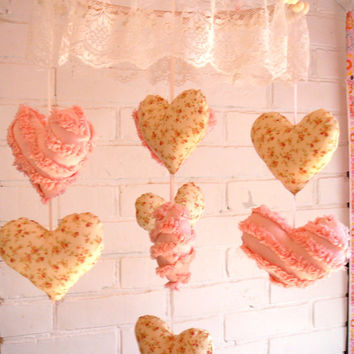 Heart Baby Mobile - Heart Mobile - Hanging Hearts - Chenille Hearts - Shabby Chic Mobile - Nursery Decor