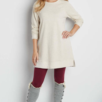 french terry pullover tunic sweatshirt in oatmeal heather | maurices