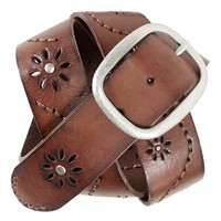 Perforated Flower Leather Belt - Aeropostale