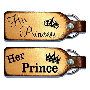 Her Prince & His Princess Leather Keychain Set