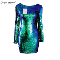 Simplee Apparel winter Christmas party green sequin fabric women dresses Long sleeve fall dress Backless bodycon dress vestidos