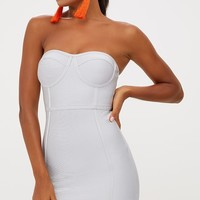 Ice Grey Bandage Frill Hem Bodycon Dress