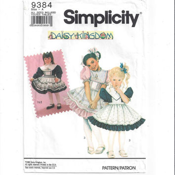 Simplicity 9384 Pattern for Daisy Kingdom Girls' Dress & Pinafore, From 1991, Most UNCUT, Sizes 3 - 6X, Vintage Pattern, Home Sewing Pattern