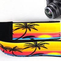 Beach Camera Strap. Sunset Camera Strap, Palm-Trees Camera Strap. Accessories