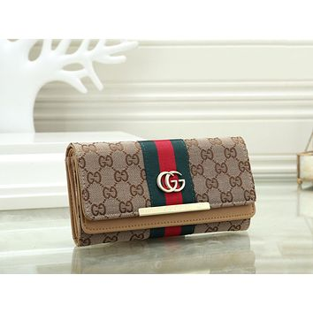 Gucci Fashionable Women Leather Purse Wallet Khaki
