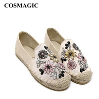 2016 Platform Flower Rhinestone Espadrilles Shoes Flats Shoes Luxury Brand  Hemp Rope Women Casual Loafer Shoes