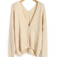 Beige Knitted Cardigan with V Neckline