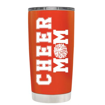 Pom Pom Cheer Mom on Vermilion 20 oz Tumbler Cup