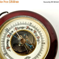 ON SALE Vintage Barometer, Wood Porcelain Brass Wall Hung