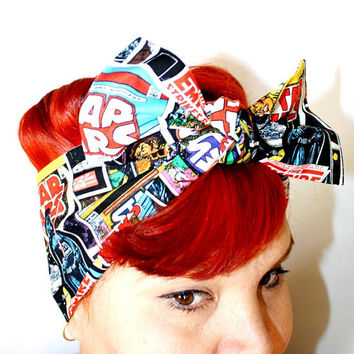 Bow hair tie, Vintage Inspired Head Scarf, Star Wars, Comic Book Covers, Darth Vader