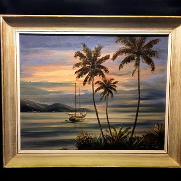 "Original Oil on Board W. Neudorff Painting ""Virgin Islands"" Signed"