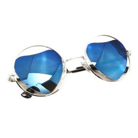 ROMWE Heart Shaped Circle Blue Sunglasses