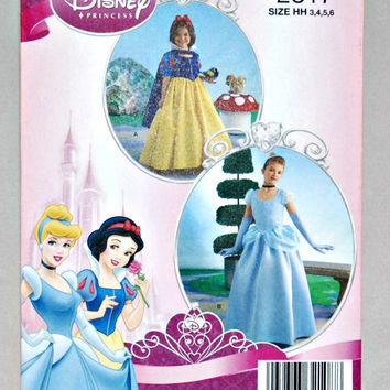 Disney Princess Costume, Simplicity 2817 (c.2008), Child Sizes 3-6, Cinderella and Snow White, Halloween Fun, Play Time Dress Up