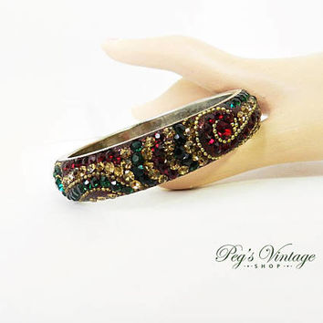Garnet Red, Emerald Green Rhinestone Bangle Bracelet, Sparkly Bling Holiday Vintage Jewelry