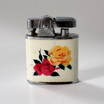 Ladies Lighter Pink and Yellow Roses Rodan Made in Japan Mid Century 1940s 1950s
