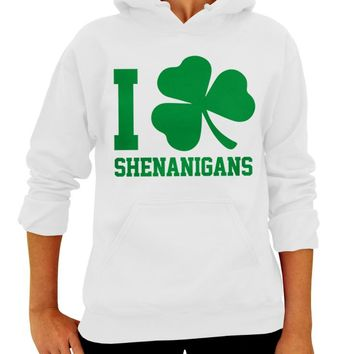 St. Patrick's Day, Hoodie, I Clover Shenanigans, Adult Unisex, Pullover Hooded Sweatshirt, Four Leaf Clover, Party Sweatshirt, Green, Irish, Womens Clothing, Mens Clothing