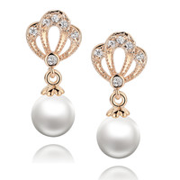 Princess Crown W. Shell Pearl and Cubic Zirconia Earrings (Rose Gold Color)