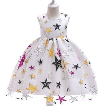 Christmas Dress for Girls New Year 3 5 10 Years Festive Costume For Kids Evening Birthday Party Ball Gown White Dress For Girls
