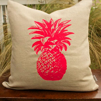 Fushia Pink Pineapple Pillow Screen Printed onto 100% Natural Linen with A Bold Pink Zipper