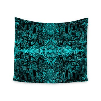 "Shirlei Patricia Muniz ""The Elephant Walk"" Teal Ethnic Wall Tapestry"