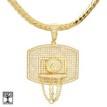 "Jewelry Kay style Gold Plated Basketball & Hoop Pendant 24"" Miami Cuban Chain Necklace BCH 13113 G"