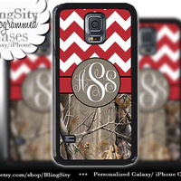 Monogram Galaxy S5 case S4 Real Tree Camo Red Fat Chevron Personalized Zig Zag Samsung Galaxy S3 Note 2 3 Cover Country Girl