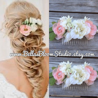 Peach Bridal Headpiece, Blush Wedding hair flower, Blush Flower Bridal Comb, Ivory blush headpiece, Peach bridal comb, Pearl Blush Comb etsy