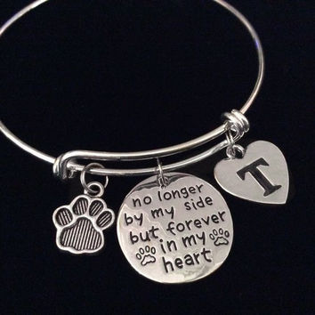 Pet Memory Bracelet Forever in My Heart Expandable Silver Charm Dog or Cat Bangle Adjustable Memorial