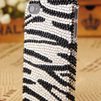 iPhone4 3GS Zebra Crystals Shell Skin Cover: gulleitrustmart.com