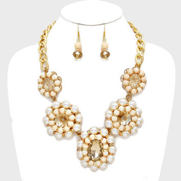 FLORAL CHUNKY PEARL CRYSTAL COLLAR NECKLACE AND EARRING SET IVORY