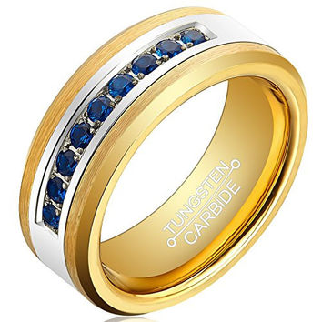 8mm Gold Tungsten Men Ring Gold Plated Blue Cubic Zirconia Inlay Unisex Wedding Band (14k, 18k, 24k Yellow Gold)