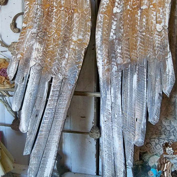 Large wooden angel wings deep colors white rusted distressed hand carved wall sculpture metal home decor Anita Spero