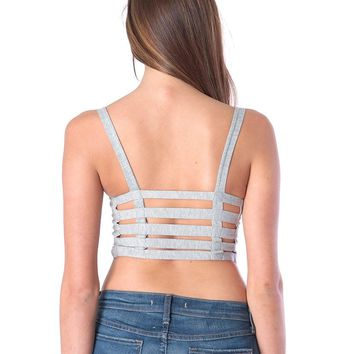 Sexy Back Bandeau Top - Heather Gray