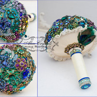 Brooch Peacock bouquet . Green Blue purple bouquet. Peacock bouquet.