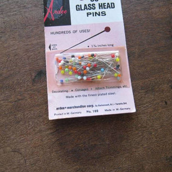 Ardee Vintage Multicolored Glass-Head Pins or 'Handmade by Betty' Name Fabric Sew-on Personalized Garment Labels; Free Ship/U.S.